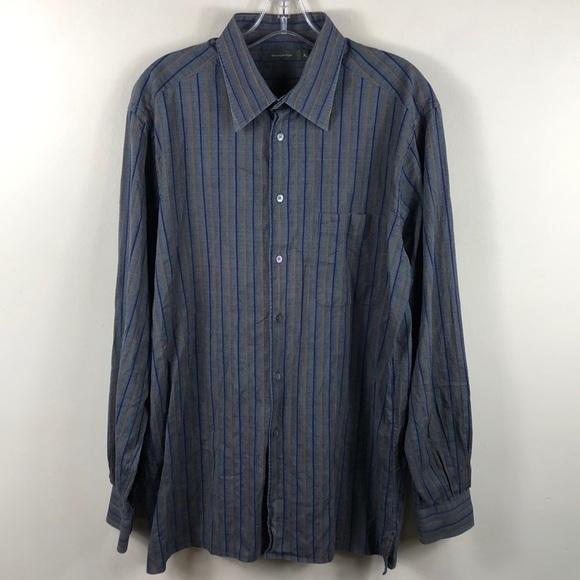 1968840f Ermenegildo Zegna Striped Sport Shirt XL Italy